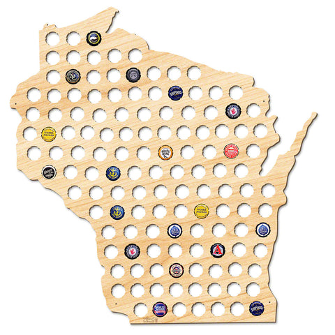 Wisconsin Beer Cap Map - Giant XL