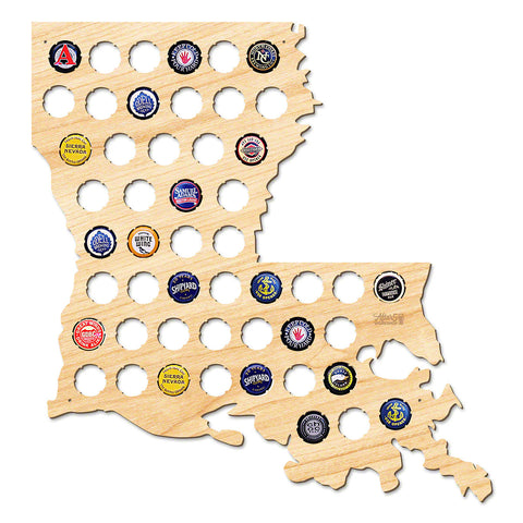 Louisiana Beer Cap Map - Large