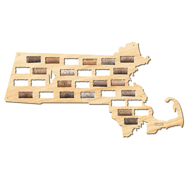 Massachusetts Wine Cork Map