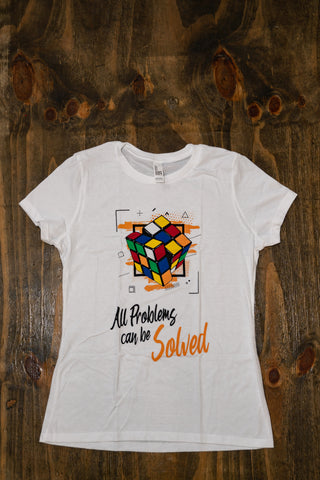 T-shirt All Problems Can be Solved (diseño renovado) Blanco