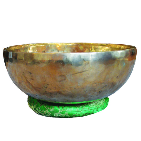 C009 New Himalayan Jambati Handbeaten Singing Bowl (F & C) Heart and Root Chakra 3.92kg 13.2in