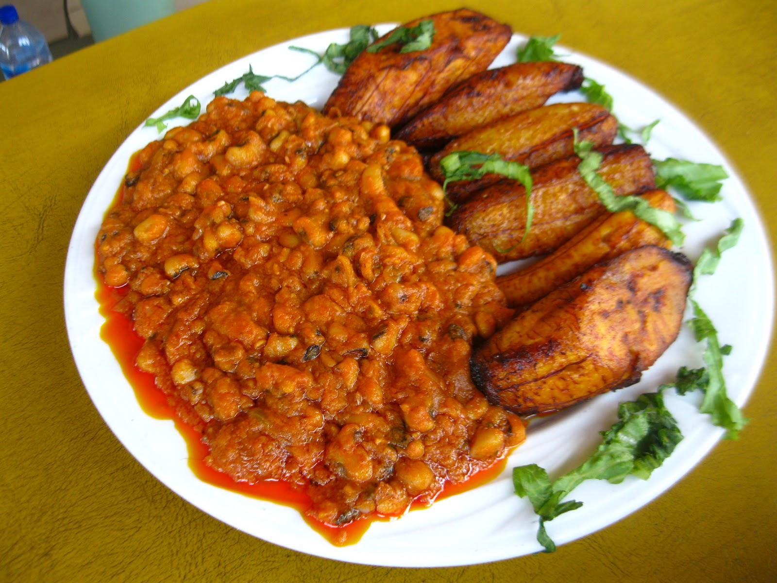 Fried Ripe Plantains with Beans Stew (Red Red)