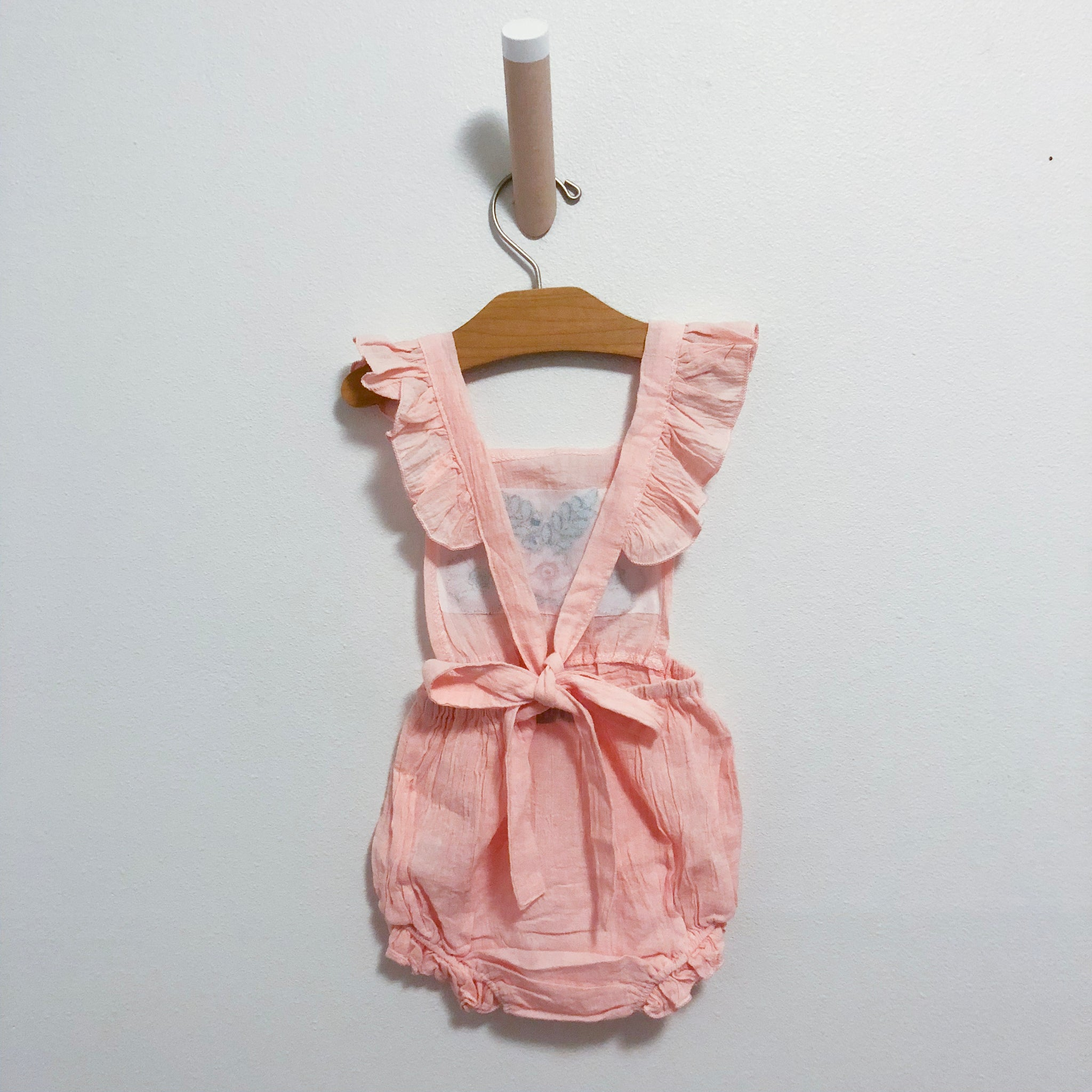 Embroidered Romper-Pink