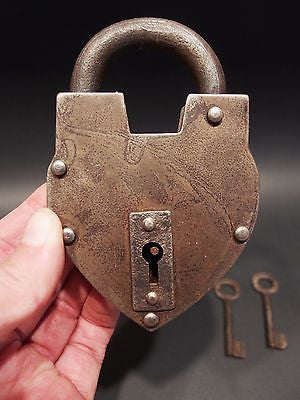 Antique Vintage Style Wrought Iron Forged Trunk Chest Box Lock & Key Padlock - Early Home Decor