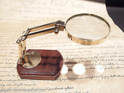 Antique Style Adjustable Magnifying Glass w Wood Base Solid Brass - Early Home Decor