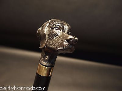 Vintage Antique Style Dog Head Handle Metal Walking Stick Cane - Early Home Decor