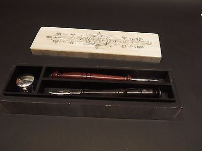 Antique Style Scrimshaw Bone & Wood Box w Inkwell 2 Dip Pens Writing Set - Early Home Decor