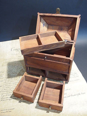 Antique Vintage Style Collectors Campaign Chest Wood Box w Secret Comparments - Early Home Decor