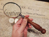 "3"" 5x Antique Style Magnifying Glass Brass w Wood Turned Hand Lens - Early Home Decor"