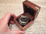 Vintage Antique Style Brass Chart Map Glass Magnifying Desk Lens Magnifier w Box - Early Home Decor