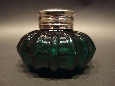 Vintage Antique Style Round Dark Green Glass Inkwell Ink pot Bottle - Early Home Decor