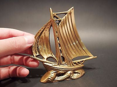 "5"" Vintage Antique Style Brass Nautical Sloop Ship Boat Paperweight Desk - Early Home Decor"