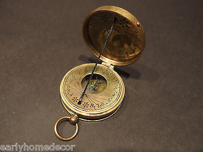 Antique Style Solid Brass Timekeeping  Sundial Pocket Compass Watch - Early Home Decor