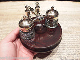 Vintage Antique Style Gold Brass Hardwood w 2 Clear Glass Inkwell bottles pots - Early Home Decor