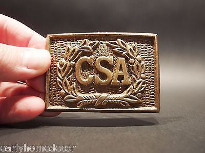 Antique Style Military Civil War Confederate CSA Belt Buckle Plate SOLID Brass - Early Home Decor