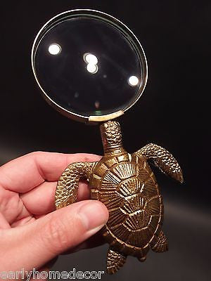 Vintage Antique Style Brass Sea Turtle Magnifying Glass Desk Hand Lens - Early Home Decor