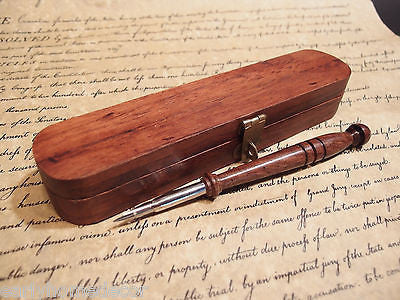 Vintage Antique Style Turned Wood Inkwell Ink Dip Quill Desk Writing Pen w Box - Early Home Decor