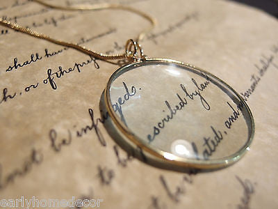 "1 3/4"" Vintage Antique Style, Brass Magnifying Glass Pendant Necklace - Early Home Decor"