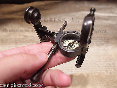 Antique Vintage Style Solid Brass Folding Instrument Binoculars w Compass - Early Home Decor