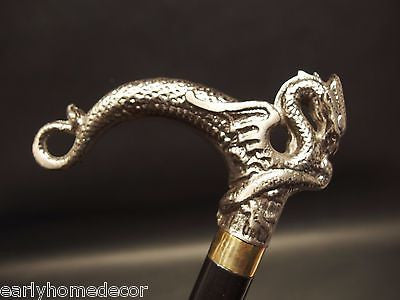 Vintage Antique Style Dragon Metal Slim Walking Stick Cane - Early Home Decor