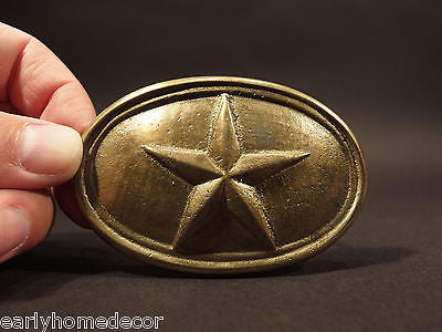 Antique Style Civil War Confederate Texas Star Belt Buckle Plate SOLID Brass - Early Home Decor
