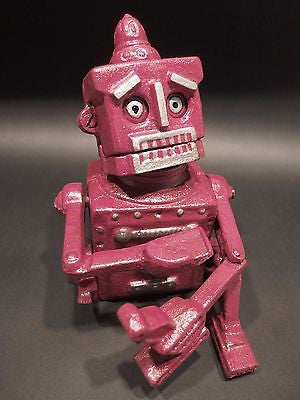 Antique Vintage Style Cast Iron Robot Toy Mechanical Coin Bank HUBLEY - Early Home Decor