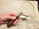 5x Vintage Antique Style Magnifying Glass Brass Turned Wood Hand Lens - Early Home Decor