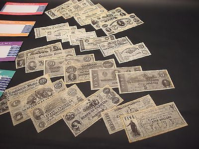 25 Antique Style Civil War CSA Confederate States Currency Money Parchment Paper - Early Home Decor