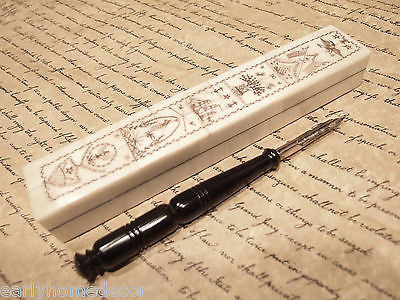 Antique Style Folk Art Americana Scrimshaw Bone & Wood Pen Box w Horn Dip Pen - Early Home Decor