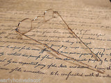 Antique Style, Small Reading Eyeglasses +100 w Sliding Bow Gold Brass Rev War - Early Home Decor