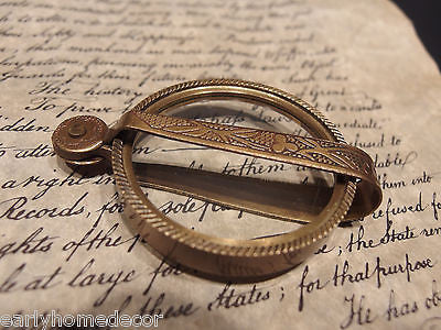 Antique Vintage Style, Brass Pocket Folding Optical Glass Magnifying Lens Loupe - Early Home Decor