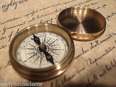 "Vintage Antique Style 2 1/4"" Screw Top Brass Heavy Maritime Navigational Compass - Early Home Decor"