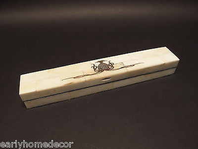 Antique Style Folk Art Pineapple Scrimshaw Bone & Wood Pen Box w Horn Dip Pen - Early Home Decor
