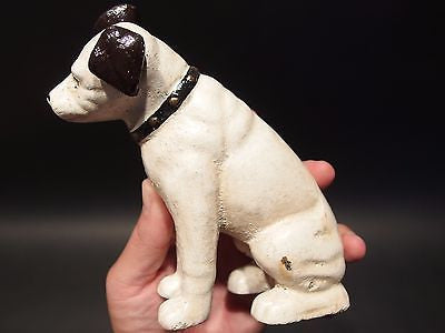 Vintage Style Cast Iron Dog w Glass Eyes Door Stop, Coin Bank Old White Paint - Early Home Decor