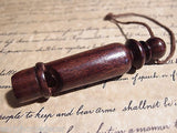 Antique Style Carved Turned Wood Signal Whistle Hunting Emergency - Early Home Decor