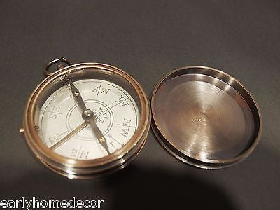 "Vintage Antique Style 3"" FRENCH Brass Heavy Maritime Navigational Compass - Early Home Decor"