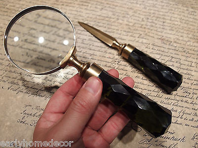 Antique Vintage Style Desk Magnifying Glass Letter Opener w Green Glass Handles - Early Home Decor