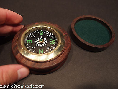 "Antique Style 3"" Solid Wood Brass Pocket Navigational Compass - Early Home Decor"