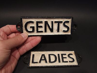 Vintage Antique Style Cast Iron Bathroom Mens Womens Ladies Gents Sign - Early Home Decor