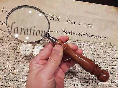 3 Quot 5x Antique Style Magnifying Glass Brass W Wood Turned