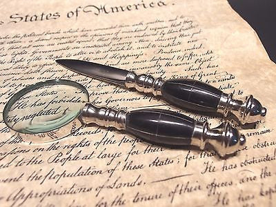 Antique Vintage Style Desk Magnifying Glass Letter Opener Set w Horn Handles - Early Home Decor