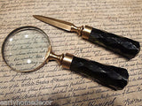 Antique Vintage Style Desk Magnifying Glass Letter Opener w Green Glass Handles