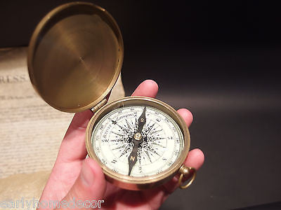 "Vintage Antique Style 3"" Brass Heavy Maritime Navigational Compass - Early Home Decor"