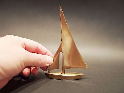"5"" Vintage Antique Style Brass Nautical Sail Boat Paperweight - Early Home Decor"
