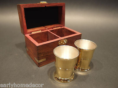 Vintage Antique Style Silver Plated Shot Glass Set With Wood Box - Early Home Decor