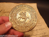 Antique Style Civil War Confederate Great Seal CS Belt Buckle Plate CAST Brass - Early Home Decor