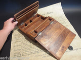 Antique Vintage Style Folding Document Writing Slope Lap Desk Campaign Box - Early Home Decor
