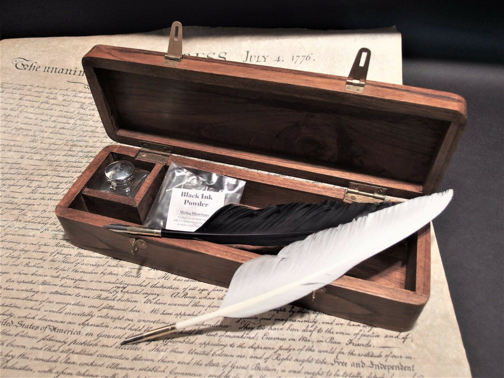 Antique Vintage Style Wood Writing Box Desk Set w Inkwell 2 Feather Dip Pen Ink - Early Home Decor