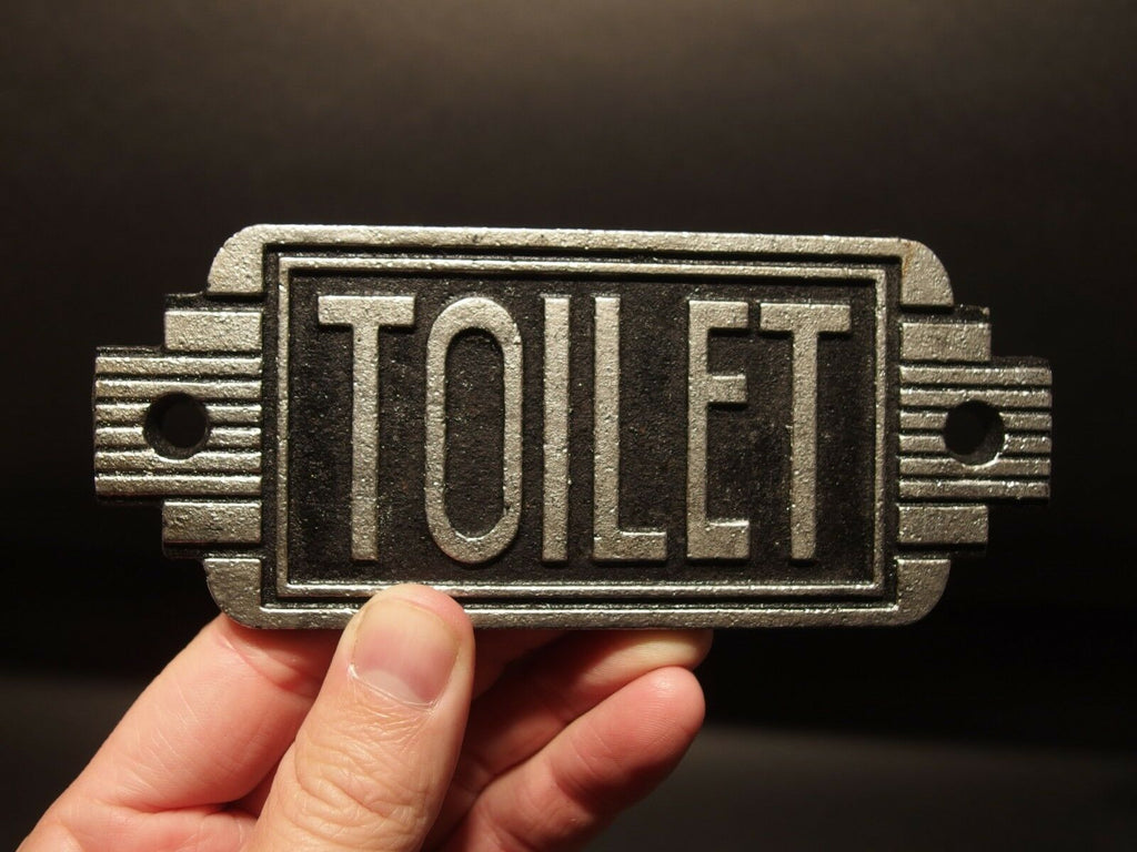 Vintage Antique Style Cast Iron Bathroom Mens Womens Toilet Sign