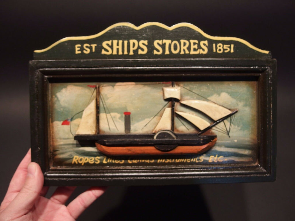 Vintage Antique Style Wood English Pub Ship Stores 1851 Sailor Trade Sign - Early Home Decor